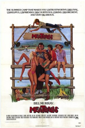 "Movie poster for the 1979 Ivan Reitman film ""Meatballs"" starring Bill Murray."